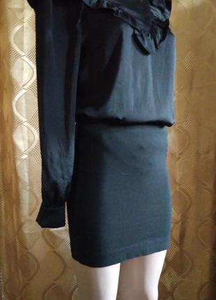 Мини юбка черная трикотажная