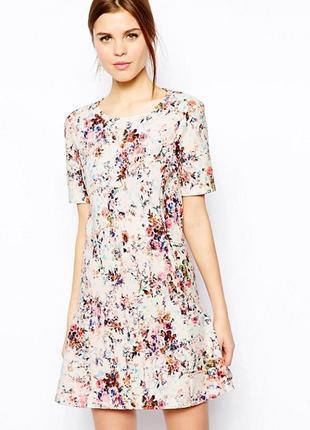 Текстурное платье цветочный принт warehaus