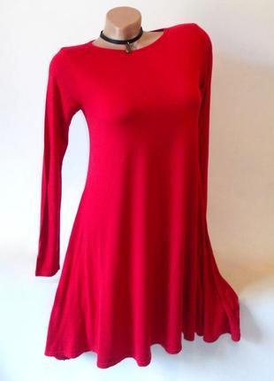 Платье трапеция свободное короткое с рукавом