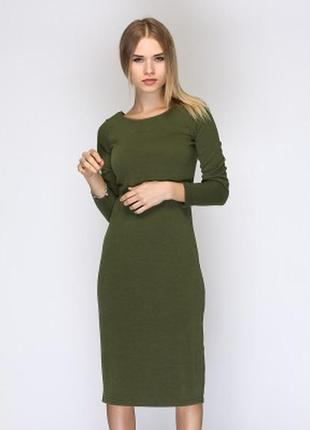 Обтягивающее платье миди хаки atmosphere