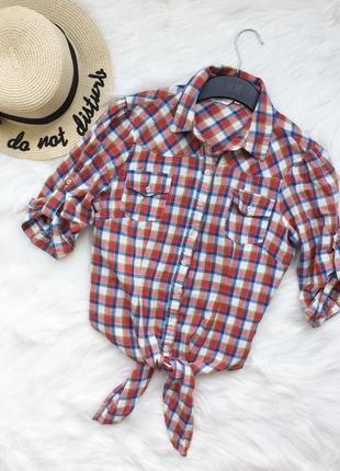 Рубашка, укороченная рубашка, сорочка, рубашка в клетку