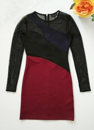 Красивое оригинальное брендовое платье topshop со вставками сетки