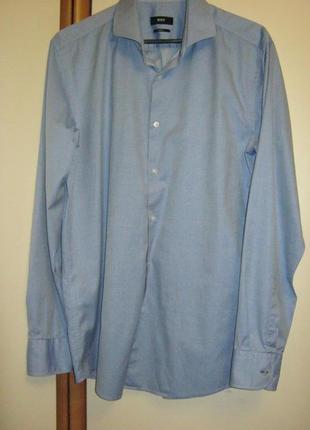Шикарная рубашка hugo boss из итальянского хлопка tessitura monti