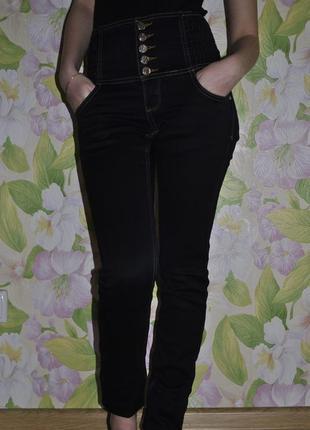Утепленные джинсы с высокой посадкой