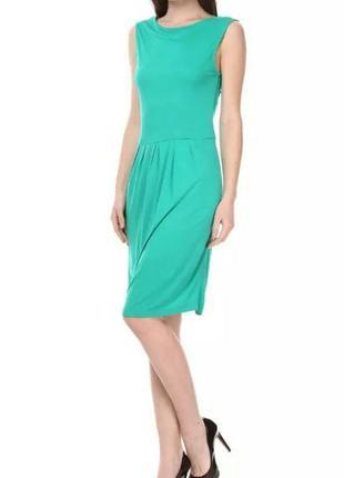Легкое зеленое платье mango размер s m длина миди