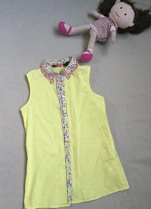 Лимонная хлопковая рубашка