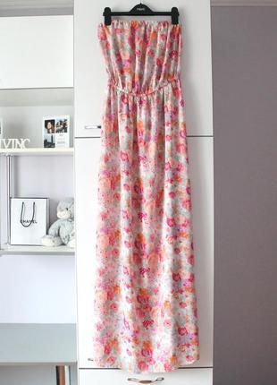 Мягусенькое легкое длинное платье в цветы от new look