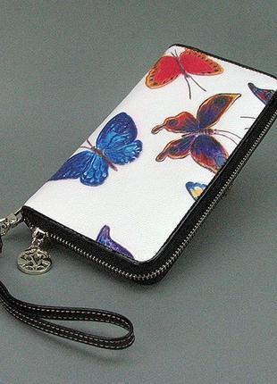 Белый кожаный женский кошелек на молнии с бабочками