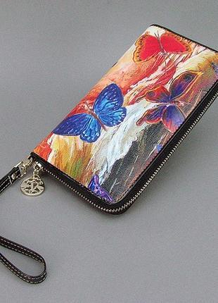 Цветной кожаный женский кошелек на молнии