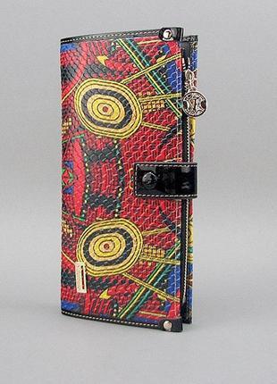 Цветной кожаный женский кошелек на кнопке