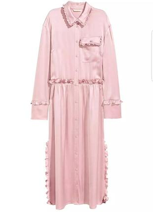 Классное миди платье рубашка с оборками от h&m