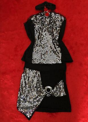 Костюм юбка+топ в пайетках для танцев, выступлений (go-go, пилон, pj)