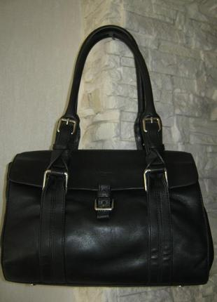 Брендовая кожаная сумка саквояж на длинных ручках через плечо 30х25х10 без дефектов