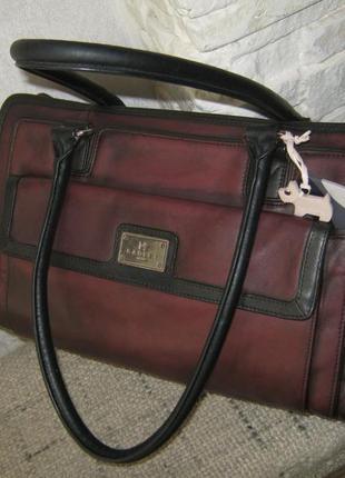 Брендовая кожаная сумка саквояж состояние отличное 34х24х7 длинные ручки через плечо