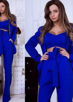 3a26115e2f0 Женский костюм топ+брюки+пиджак