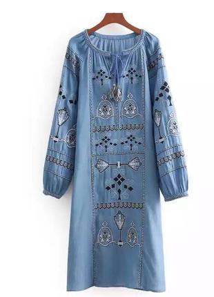 Вышитое платье бохо