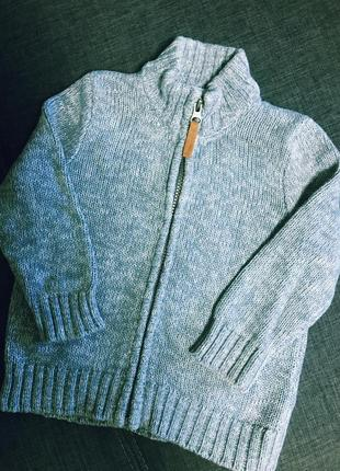 Кофта на молнии свитер джемпер carters 100% котон размер 2-3 года