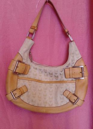 Брендовая летняя сумка полумесяц, кожа и текстиль