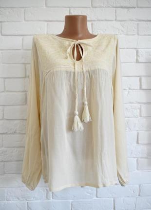 Нежная блуза вышиванка цвет айвори из жатой вискозы matalan uk12 новая