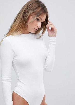 93887ebd4c5 Белый женский боди с высоким воротом и длинными рукавами в мелкий рубчик  asos1 фото ...