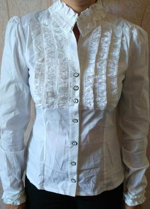 e00bb7d0bfe Рубашка  блузка  блуза чёрно -белая с кружевом бренда zara ZARA ...