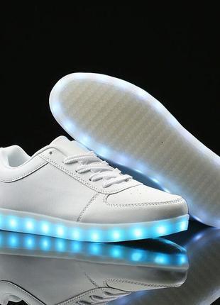 Светящиеся led  кроссовки. кроссовки с подсветкой, белые. большие размеры