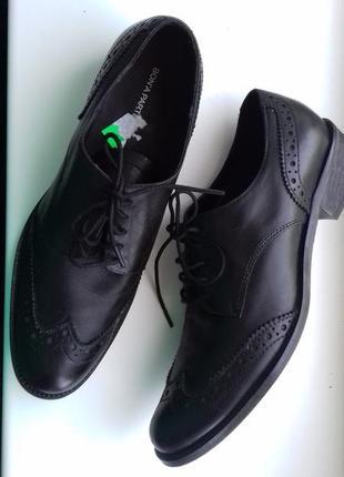 Безупречные кожаные туфли на шнуровке полуботинки оксфорды