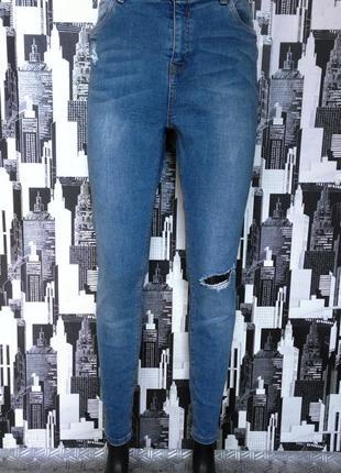 #353 голубые джинсы скинни с потертостями высокой посадки new look