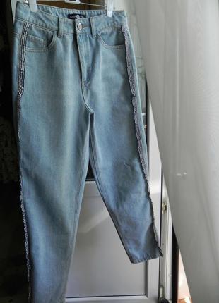 👏 шикарные джинсы бойфренды высокая посадка,декор мом джинсы daisy street (см.замеры)
