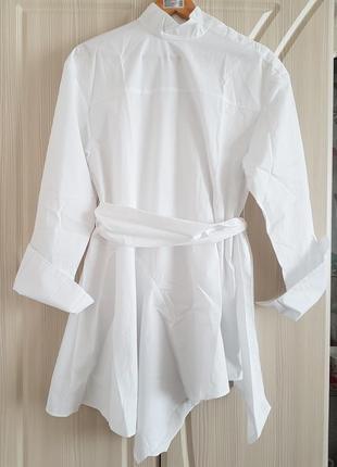 Белая хлопковая туника, платье рубашка с ассиметричным низом от h&m