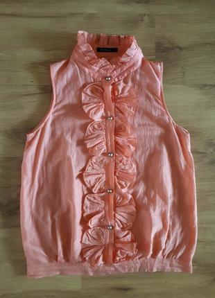 Легкая женственная блуза из натуральной ткани лососевого цвета s-m
