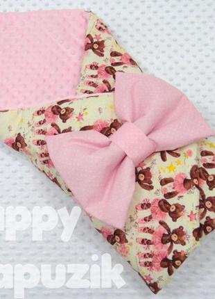Плед с мишками на кремовом фоне/конверт на выписку/одеяло + бант-подушка на резинке