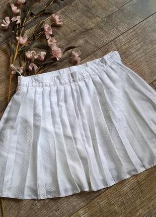 Белая мини юбка-плиссе/спортивная/от adidas/для тениса и спорта-s-м