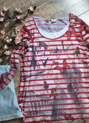 Милая стильная блуза/двойная/майка+сеточка от taifun/бабочки