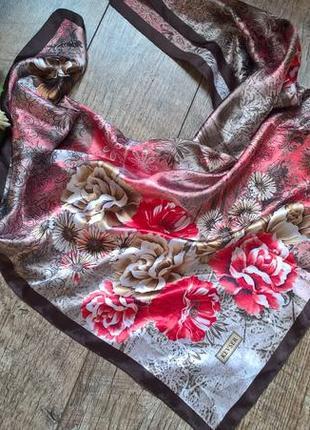 Турецкий атласный платок от kevser/с перламутровым отливом/цветы