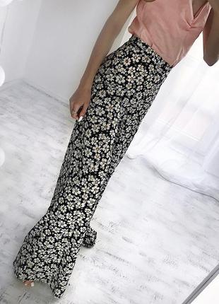 Шикарні брюки кльош цветочные штаны штани s купить украина женская одежда