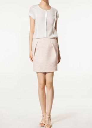 Твидовая юбка с защипами massimo dutti