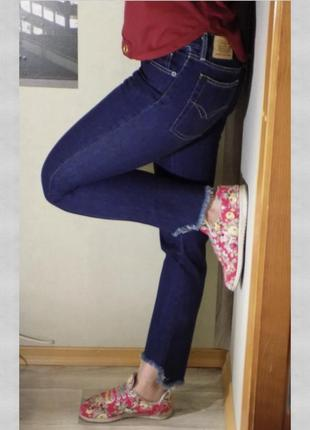 Джинсы с бахромой motor jeans,темно-синие,р.29