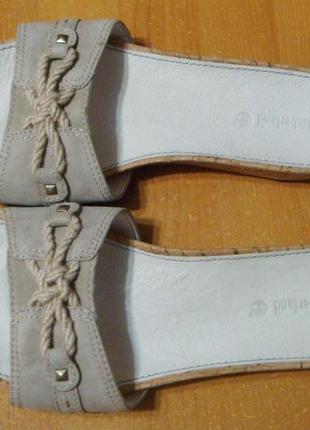 Новые кожаные босоножки оригинальные шлепанцы timberland