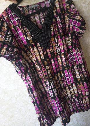 Блуза  туника рубашка лён большой размер