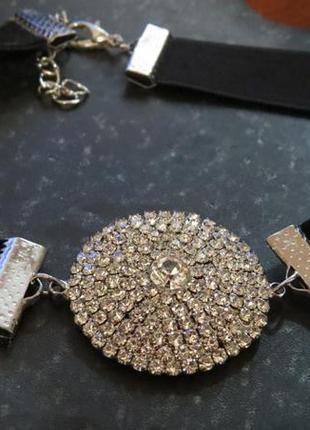 Красивейший бархатный чокер ожерелье с кулоном в камнях