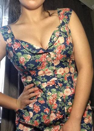 Цветочное платье \платье в цветочный принт на пуговках