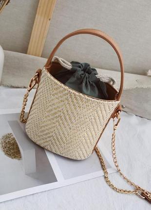 Соломенная мини сумочка на лето сумка  мешок клатч боченок