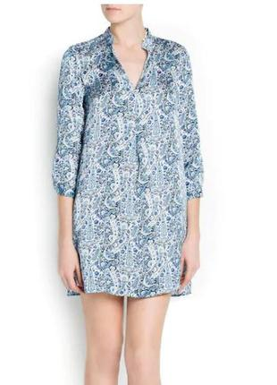 Атласное платье-рубашка mango