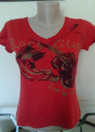 Фирменная итальянская яркая футболка с принтом roch glam free spirit хлопок р.с-м