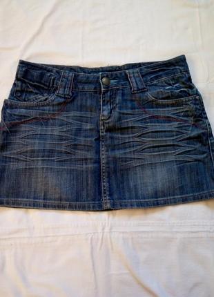 Джинсовая мини юбка, р. 28