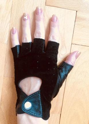 Рукавички шкіряні без пальців