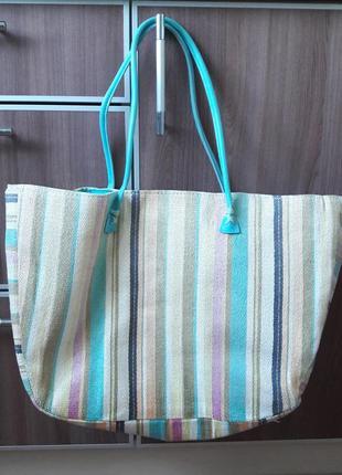 Большая вместительная соломенная (плетенная) пляжная сумка