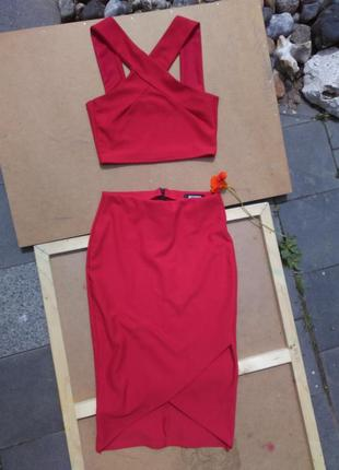 Бандажный комплект топ и юбка