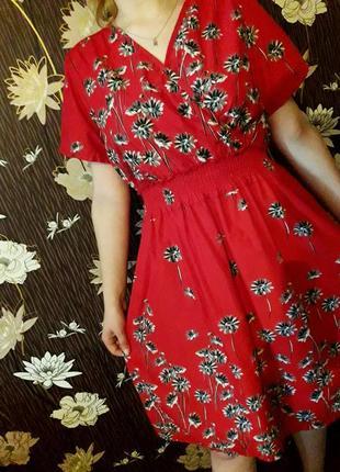 Шикарное нарядное яркое платье/платице миди в цветочный принт cotton traders.